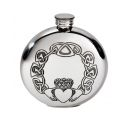 Round Claddagh Pewter Flask