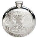 Round Usquabae Single Thistle Pewter Flask