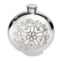Round Yorkshire Rose Pewter Flask