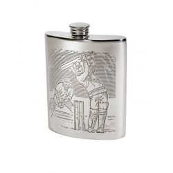 Cricket Scene Hip Flask