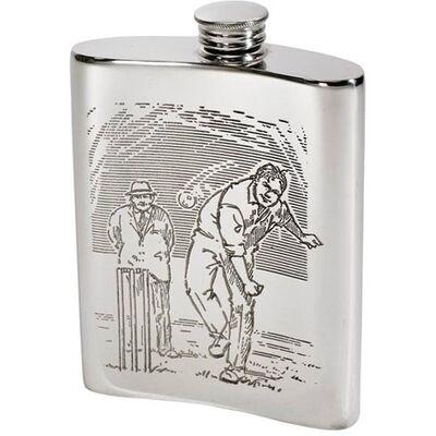Cricket Scene Hip Flask