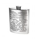 Fish Scene Pewter Hip Flask