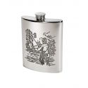 Fishing Scene Pewter Hip Flask