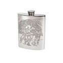 Football Scene Pewter Hip Flask