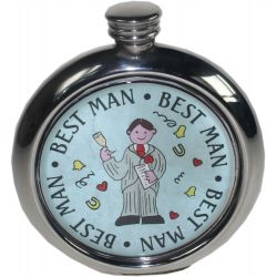 Best Man Round Picture Flask