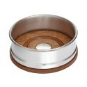 Wood and Pewter Small Bottle Coaster
