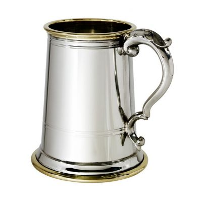 Wortley Pewter and Brass Tankard With Glass Base