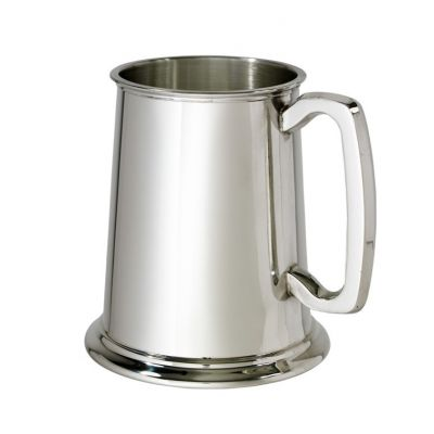 Plain Pewter Tankard With Glass Base