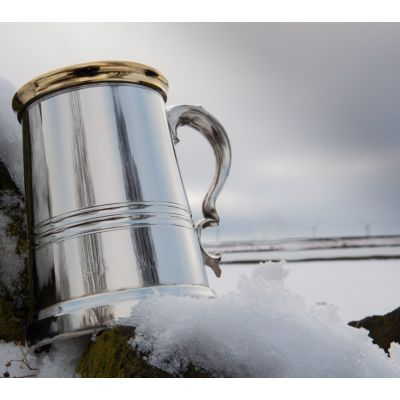 Pewter and Brass Worcester Tankard