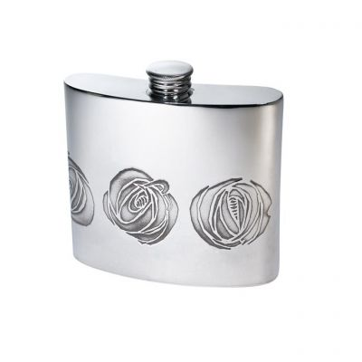 Charles Rennie Mackintosh Rose Pewter Kidney Hip Flask