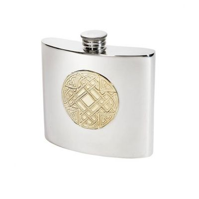 Celtic Gold Pewter Kidney Hip Flask