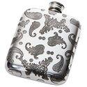 Paisley Pattern Pewter Pocket Flask