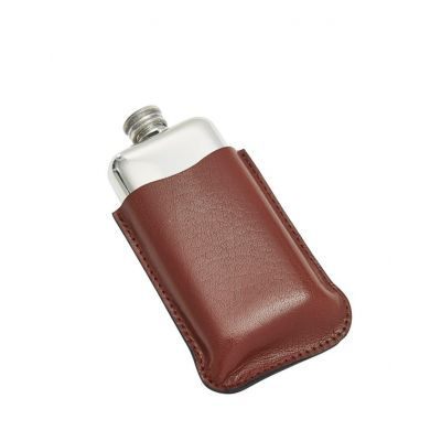 Black Leather Pouch 3oz Pocket Flasks
