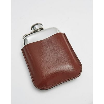 Black Leather Pouch 4oz Pocket Flasks