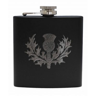 Matt Black Thistle Hip Flasks