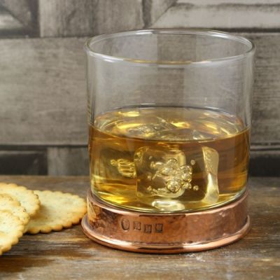 Hammered Rose Finish Whiskey Glass
