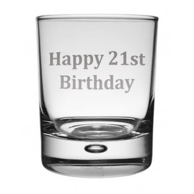 Happy 21st Whisky Glass
