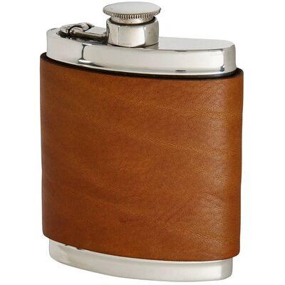 English Tan Leather Hip Flask