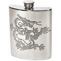 Chinese Dragon Pewter Kidney Hip Flask