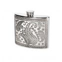 Paisley Style Pewter Kidney Hip Flask