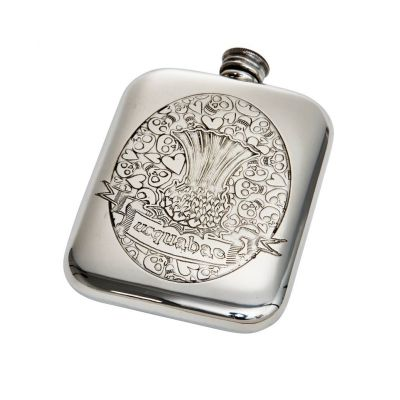 Usquabae Thistle Skull and Hearts Pocket Flask