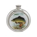 Carp Round Pewter Picture Flask