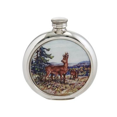 Deer Round Picture Flask