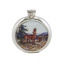 Deer Round Pewter Picture Flask