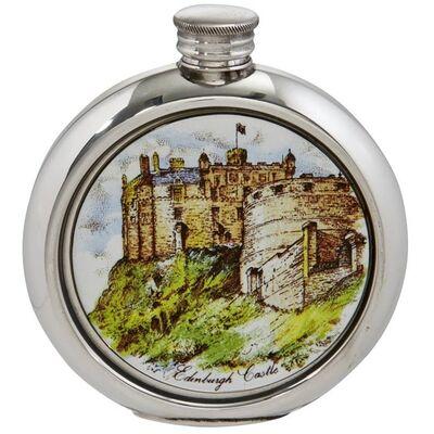 Edinburgh Castle Round Picture Flask