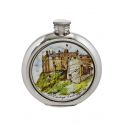 Edinburgh Castle Round Pewter Picture Flask