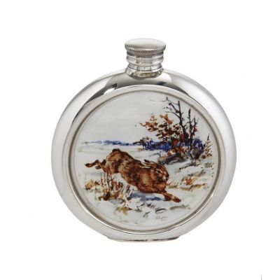 Hare Round Picture Flask