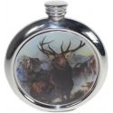 Monarch of the Glen Round Pewter Picture Flask