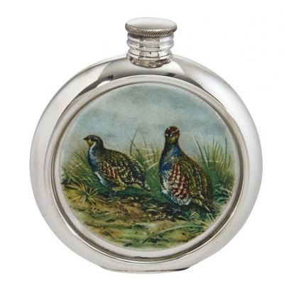 Partridge Round Picture Flask