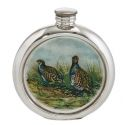 Partridge Round Pewter Picture Flask