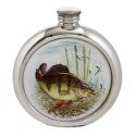 Perch Round Pewter Picture Flask