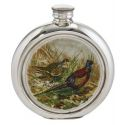 Pheasant Round Pewter Picture Flask