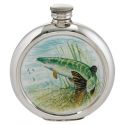 Pike Round Pewter Picture Flask