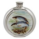Roach Round Pewter Picture Flask
