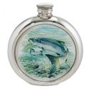 Salmon Round Pewter Picture Flask