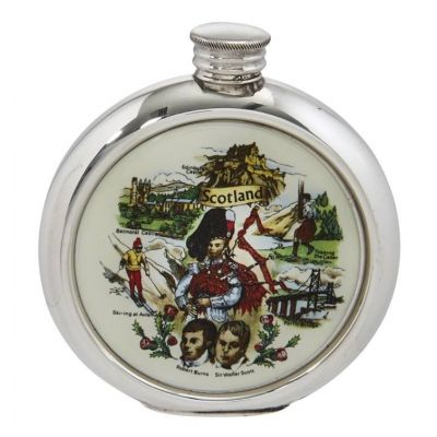Scottish Scene Round Picture Flask