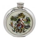 Scottish Scene Round Pewter Picture Flask