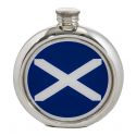 St Andrews Flag Round Pewter Picture Flask