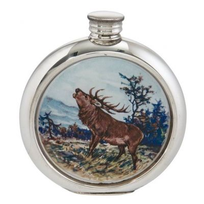 Stag Round Picture Flask