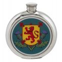 Thistle and Rampant Lion Round Pewter Picture Flask