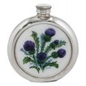 Thistle Round Pewter Picture Flask