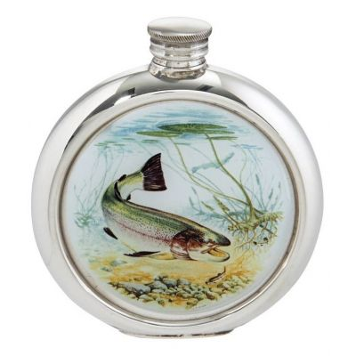 Trout Round Picture Flask