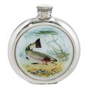 Trout Round Pewter Picture Flask