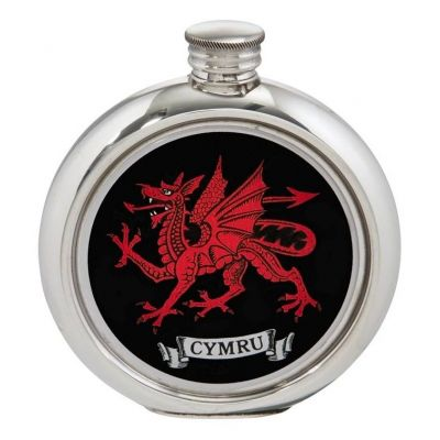 Welsh Dragon Round Picture Flask
