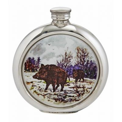 Wild Boar Round Picture Flask