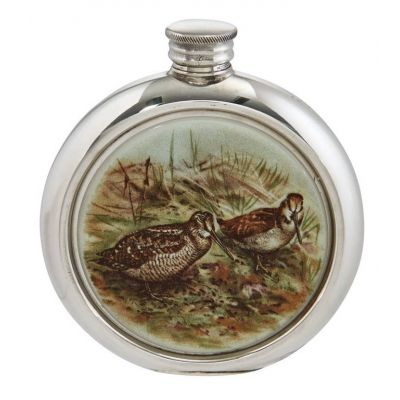 Woodcock Round Picture Flask